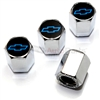 Chevrolet Blue Logo Chrome ABS Tire Valve Stem Caps