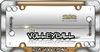 Volleyball Chrome Plastic License Plate Frame + Screw Bolt Caps for Car-Truck