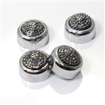 4 Premium Chrome Smoke Pave License Plate Fastener Screw Bolt Caps for Car-Bike
