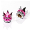 2 Motorcycle Chrome Silver Crown Pink Bling Diamond Tire/Wheel Stem Valve Caps