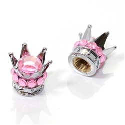 2 Motorcycle Bike Chrome Crown Light Pink Bling Diamond Tire/Wheel Valve Caps
