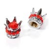 2 Motorcycle Bike Chrome Crown Red Bling Diamond Tire/Wheel Stem Valve Caps Set