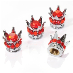4 Chrome Crown Red Bling Diamond Tire/Wheel Stem Valve Caps car truck hot rod