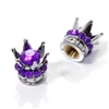 2 Motorcycle Chrome Silver Crown Purple Bling Diamond Tire/Wheel Stem Valve Caps