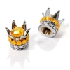2 Motorcycle Chrome Silver Crown Orange Bling Diamond Tire/Wheel Stem Valve Caps
