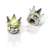 2 Motorcycle Chrome Silver Crown Yellow Bling Diamond Tire/Wheel Stem Valve Caps