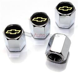 Chevrolet Yellow Logo Chrome ABS Tire Valve Stem Caps