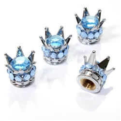 4 Chrome Crown Light Blue Bling Diamond Tire/Wheel Stem Valve Caps car truck