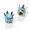 2 Motorcycle Chrome Crown Aqua Blue Bling Diamond Tire/Wheel Stem Valve Caps Set