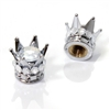 2 Motorcycle Chrome Silver Crown Clear Bling Diamond Tire/Wheel Stem Valve Caps