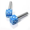 2 Custom Blue Dice Interior Door Lock Knobs Pins for Car-Truck-HotRod-Classic