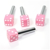 4 Custom Pink Dice Interior Door Lock Knobs Pins for Car-Truck-HotRod-Classic