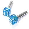 2 Clear Blue Dice Interior Door Lock Knobs Pins for Car-Truck-HotRod-Classic