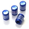 Blue Aluminum Chrome Stripes Tire Valve Stem Caps