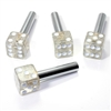 4 Clear Glitter Dice Interior Door Lock Knobs Pins for Car-Truck-HotRod-Classic