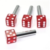 4 Red Glitter Dice Interior Door Lock Knobs Pins for Car-Truck-HotRod-Classic