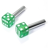 2 Green Glitter Dice Interior Door Lock Knobs Pins for Car-Truck-HotRod-Classic