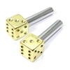 2 Yellow Gold Dice Interior Door Lock Knobs Pins for Car-Truck-HotRod-Classic
