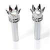 2 Custom Chrome Crown Interior Door Lock Knobs Pins for Car-Truck-HotRod-Classic