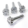 4 Chrome Dollar Sign Interior Door Lock Knobs Pins for Car-Truck-HotRod-Classic