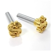 2 Gold Dollar Sign Interior Door Lock Knobs Pins for Car-Truck-HotRod-Classic