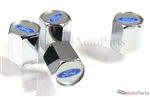 Ford Blue Logo Chrome ABS Tire Valve Stem Caps