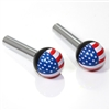 2 American Flag USA Ball Interior Door Lock Knobs Pins for Car-Truck-HotRod