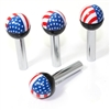 4 American Flag USA Ball Interior Door Lock Knobs Pins for Car-Truck-HotRod