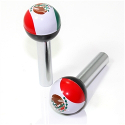 2 Universal Mexico Flag Ball Interior Door Lock Knobs Pins for Car-Truck-HotRod