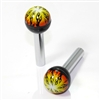 2 Fire Flames Ball Interior Door Lock Knobs Pins for Car-Truck-HotRod-Clasic