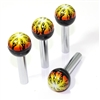 4 Fire Flames Ball Interior Door Lock Knobs Pins for Car-Truck-HotRod-Clasic