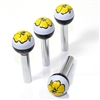 4 Yellow Flower Ball Interior Door Lock Knobs Pins for Car-Truck-HotRod-Clasic