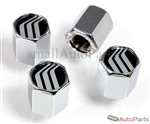 Lincoln Black Logo Chrome ABS Tire Valve Stem Caps