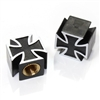 2 Black Iron Cross Wheel Tire Pressure Air Stem Valve Caps for Motorcycle-Bike
