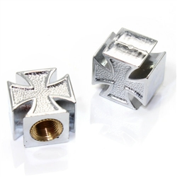 2 Chrome Iron Cross Wheel Tire Pressure Air Stem Valve Caps for Motorcycle-Bike