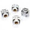 4 Chrome Iron Cross Wheel Tire Pressure Air Stem Valve Caps for Auto-Car-Truck
