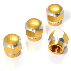 4 Gold Hex Aluminum Wheel Tire Pressure Air Stem Valve Caps for Auto-Car-Truck