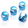 4 Blue Hex Aluminum Wheel Tire Pressure Air Stem Valve Caps for Auto-Car-Truck