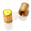Yellow Gold Aluminum Chrome Stripes Tire Valve Stem Caps