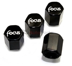 Ford Focus Silver Logo Black ABS Tire Valve Stem Caps
