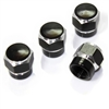 4 Black Hex Aluminum Wheel Tire Pressure Air Stem Valve Caps for Auto-Car-Truck