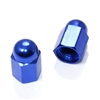 2 Blue Hex Dome Wheel Tire Pressure Air Stem Valve Caps for Motorcycle-Bike
