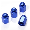 4 Blue Hex Dome Wheel Tire Pressure Air Stem Valve Caps for Auto-Car-Truck