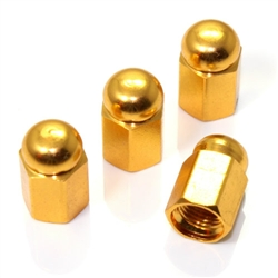 4 Gold Hex Dome Wheel Tire Pressure Air Stem Valve Caps for Auto-Car-Truck