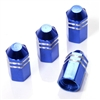 4 Blue Finned Hex Wheel Tire Pressure Air Stem Valve Caps for Auto-Car-Truck