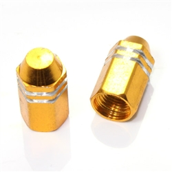 2 Gold Finned Hex Wheel Tire Pressure Air Stem Valve Caps for Motorcycle-Bike