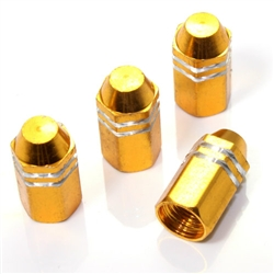 4 Gold Finned Hex Wheel Tire Pressure Air Stem Valve Caps for Auto-Car-Truck