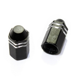2 Black Finned Hex Wheel Tire Pressure Air Stem Valve Caps for Motorcycle-Bike