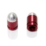 Two Red Bullet Presta Valve Stem Caps