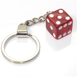 Clear Red Dice Keychain